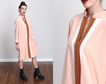 1970s Peach Terrycloth Zip-up House Dress with Rust and White Stripes - S/M