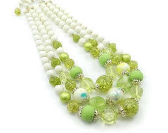 Vintage Green Beaded Necklace, Three Strands, Glass Beads, Lucite Beads