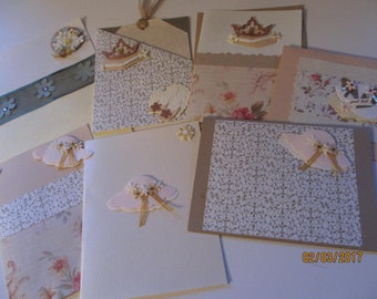 7 Asst Blank Handmade Bridal Shower Cards,Rustic Shower Cards, Chic Shower Cards