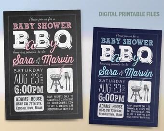BabyQ Baby Shower, BBQ Baby Shower Invitation,Baby-Q, Baby Shower BBQ, Printable DIY Invitation