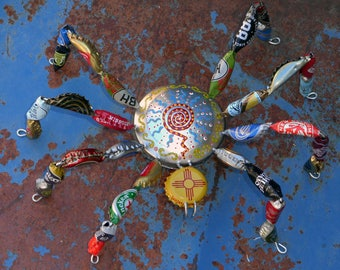 OOAK Outsider Art Recycled Trash Art Zia Head Bottle Cap Spider