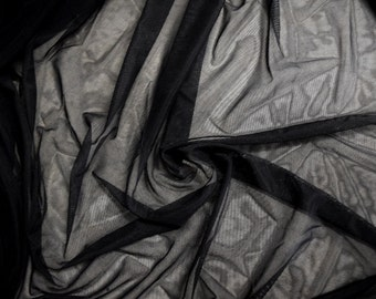 Captivating Black Mesh Fabric See Through Sheer Stretchy Goth Punk Scene Emo Trendy  Sexy Fashion Transparent Cover