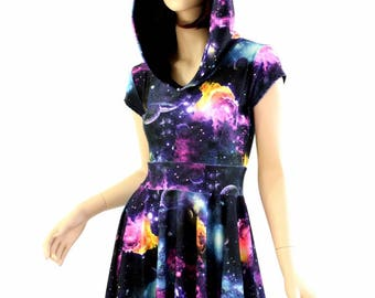 UV Glow Galaxy Print Hoodie Cap Sleeve Fit and Flare Skater Skate Dress w/Black Zen Hood Liner Rave Festival Clubwear - 154477