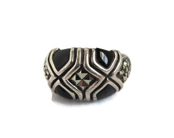 Onyx Sterling Silver Ring, Vintage Black Onyx and Marcasite Dome Ring, Size 6