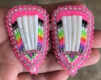 Native American beaded pink neon fan dentalium powwow lever post earrings