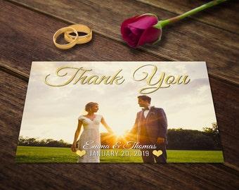 Thank You Card Template Wedding - Thank You Card PSD Photoshop Thank You Card - Wedding Templates PSD - Wedding PSD Template Postcard