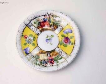 Antique Dresden Porcelain Helena Wolfsohn? Hand Painted Courting Couple Floral Design Miniature Saucer Retro Collectible Dresden Porcelain