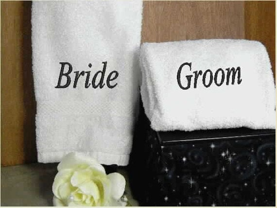 Bride And Groom Hand Towel Set Towels Bath Towel