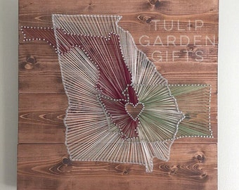 Heartstrings 3 State String Art Wall Hangings - Pallet Style, Triple State String Art, 3 State Mixed Media, Wedding String Art, Three State