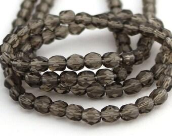 Transparent Dark Grey 5mm Facet Round Czech Glass Fire Polished Beads #122