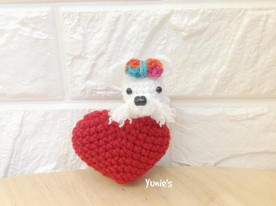 Amigurumi Koala Keychain : Crochet Dog Love amigurumi with Swivel key clasp Crochet