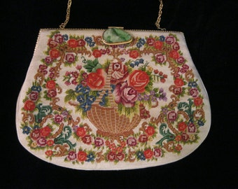 Colorful Chinese Tapestry Petit Point Purse with Carved Apple Jade Clasp