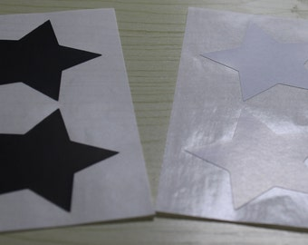 "100pcs - 1.4"" Black & White Star Sticker seals, envelope seals"
