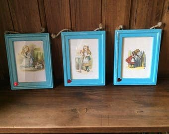 Set of three framed Alice in Wonderland pictures hand painted frames wall hangings