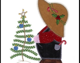 "Christmas Overall Sam applique machine embroidery design. Instant download available. Hoop size must be 6.75"" X 8.5"" or larger."