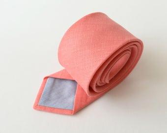 Coral Linen Necktie- Men's Tie- Wedding Ties - Groomsmen Neckties