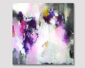 Originele XXL extra grote abstracte schilderij, moderne kunst, donker paars roze, grijs en witte grote kleurrijke olieverfschilderij, grote vierkant
