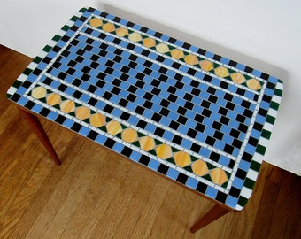 Mosaic Table with Checkerboard Pattern Top-accent table-small table-stained glass table-side table-decorative table