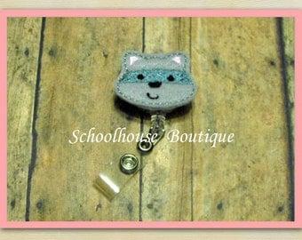 Raccoon felt badge reel, name badge holder, nurse badge, ID holder, badge reel, retractable badge clip, feltie badge reel