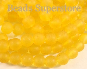 SALE CLOSEOUT 10 mm Yellow Frosted Round Glass Bead - 24 pcs