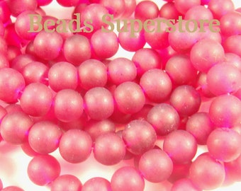 SALE CLOSEOUT 10 mm Ruby Frosted Round Glass Bead - 24 pcs