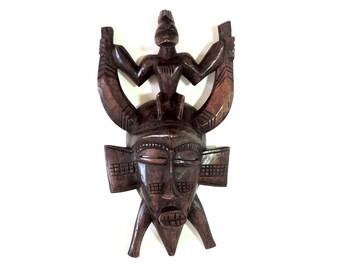 African Mask/Vintage African Mask/Vintage Senufo Mask/West African Mask/Ethnic Decor/African Decor/Boho Decor/Tribal Mask/World Decor