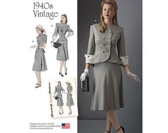 8242, Simplicity, Retro 1940's Dress, Jacket, Skirt, 1940's dress, 40's dress, Vintage Style, Reproduction pattern, peplum, Suit