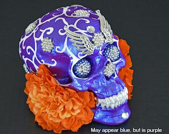 Gifts, Decorative Skulls, Art and Collectables, Sculptures, Figurine, In Purple, Hand Painted, Sugar Skulls, Unique Gift Ideas, Skulls