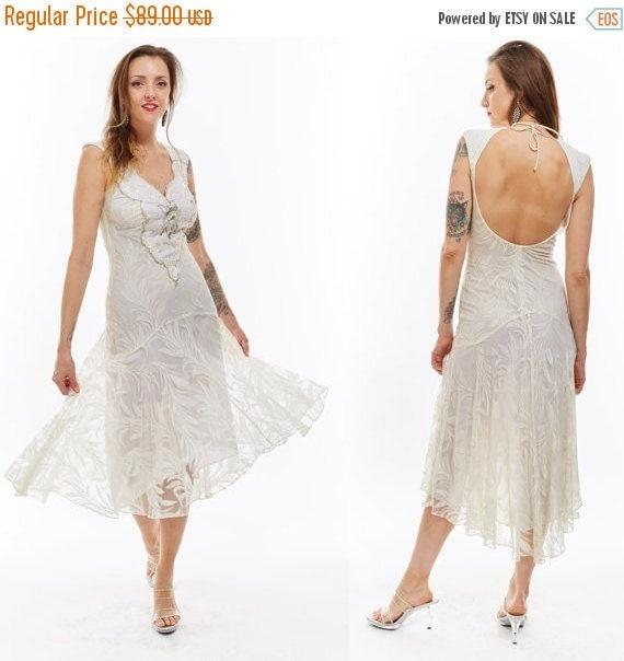 Vtg 80s White LACE Drop Waist Wedding Ballroom Maxi BEADED Trophy Sequin DRESS Gypsy Goddess Glam Backless Avant Garde Fishtail Hi-Lo sheer