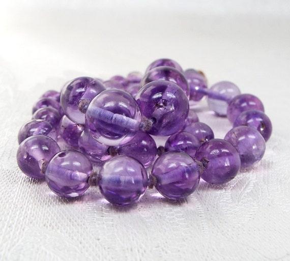 Vintage Art Deco Stunning Purple Amethyst Polished Gemstone Bead Necklace Chain