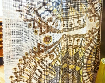 Vintage curtains in brownish psychedelic geometric pattern. Retro net curtains. Danish modern home decor.