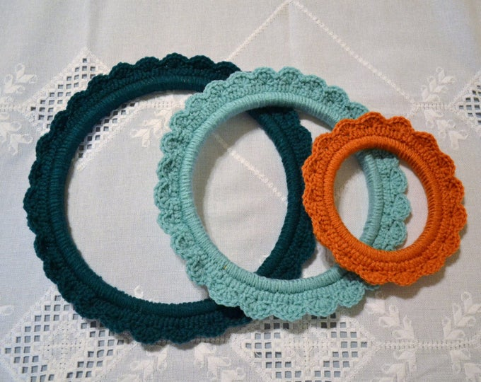 Crochet Embroidery Hoop Teal Aqua Burnt Orange Set of 3 Shabby Cottage Style Decor Upcycle Recycle PanchosPorch