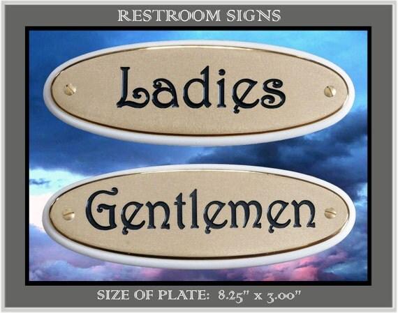 Items Similar To Solid Brass Signs Engraved Door Plates Ladies Gentlemen Restroom Sign Plaque