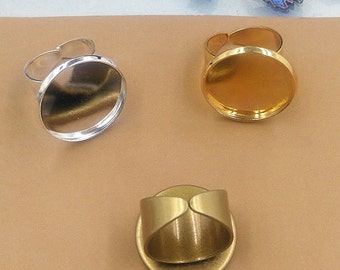 Vintage style brass ring blanks adjustable 20mm circle cabochon base ring blanks settings silver golden bronze colors T8369