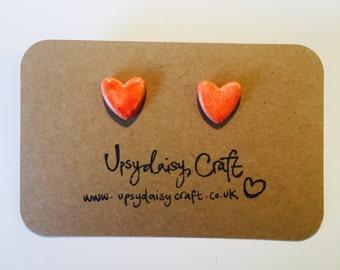 Ceramic heart stud earrings - Medium - Red