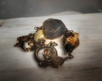 Unique wrapped bohemian jewelry, brass boho bracelet, beaded gemstone bracelet, gift for her