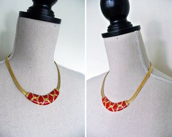 Vintage 1980s Red Enamel Gold Tone Metal Necklace