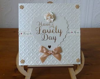 Wedding Day Lovely Day Pearl Card With Matching Envelope