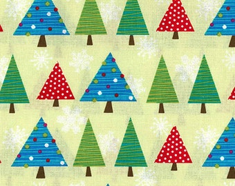 Half Yard Snow Days - Tree Fest in Lime Green - Christmas Trees - Cotton Quilt Fabric - Mitzi Powers for Benartex Fabrics - 3659S-44 (W3530)