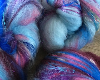 Blueberries, Fiber Art Batt for spinning or felting, 4.2 ounces