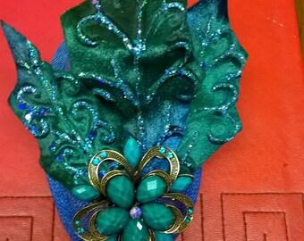 Royal blue and green fascinator