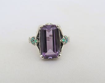 Vintage Sterling Silver Alexandrite & Green Opal Ring Size 7