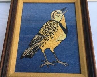 Vintage Machine Embroidered Bird