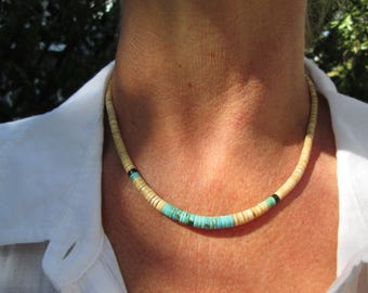 Native American Turquoise, Jet and Voluta Shell Beads Heishi Necklace