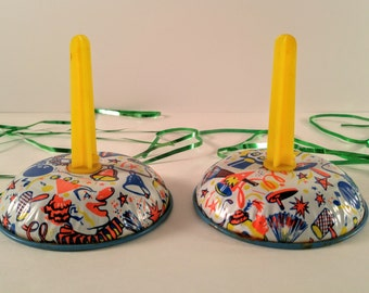 Vintage Metal Noise Makers. Set of 2. Mid Century New Year's Eve/Birthday Party Supplies & Favors. Tin Toy. Holiday Decor. Stocking Stuffer.