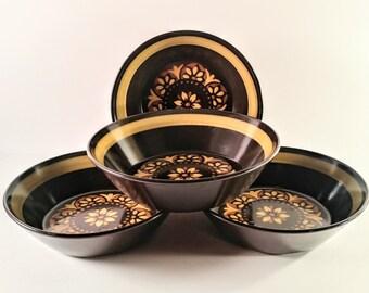 Vintage Mikasa Majorca Cereal Bowls. Set of Four Brown, Gold and Orange Flower Power. 1970's,  Retro, Mod, Boho, Tuscan Kitchen.