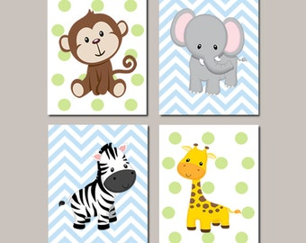 JUNGLE Nursery Wall Art ELEPHANT Giraffe Zebra Monkey Set of 4 Prints Or Canvas Zoo Safari Animals Baby Boy Decor Wall ART Jungle Decor