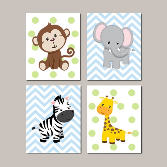 Jungle nursery wall art elephant giraffe zebra monkey set of 4 - Babyzimmer jungle ...