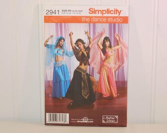 Simplicity 2941 The Dance Studio Belly Dancer Costume (c. 2008) Misses' Sizes 14-20) Andrea Schewe Design, Middle Eastern, Bollywood Costume