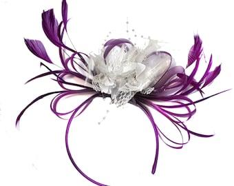 Magenta Plum and White Fascinator on Headband Alice Band UK Wedding Ascot Races Derby